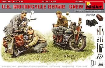 MiniArt (35284) US Motorcycle Repair Crew (3) w:2 Motorcycles