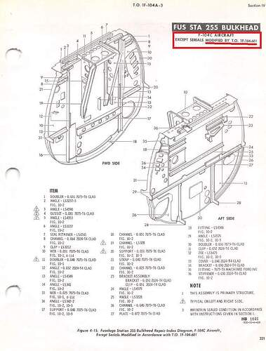 F-104A Production FS255 Bulkhead