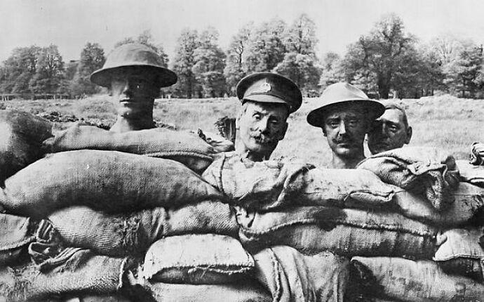 Dummy heads from World War One.