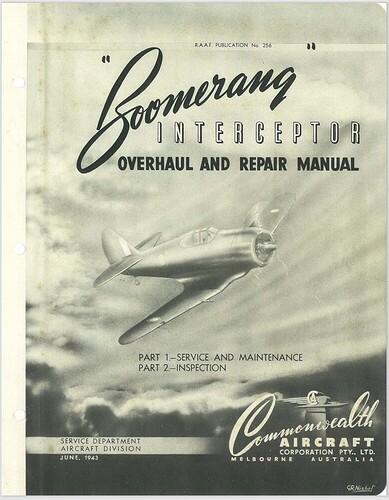 Boomerang Overhaul And Repair Manual RAAF Cover