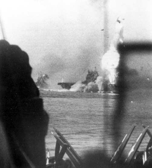 Enterprise Kamikaze 14 May 1945 stbd bow view from Essex