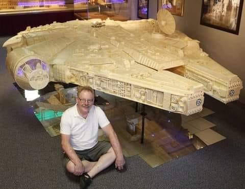 Millennium Falcon built using 910,000 matchsticks by Patrick Acton