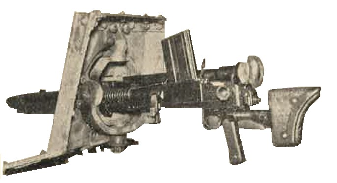 Type 97 (1937) 7.7-mm machine gun in a ball mount taken from the left front of a Type 97 (1937) medium tank hull