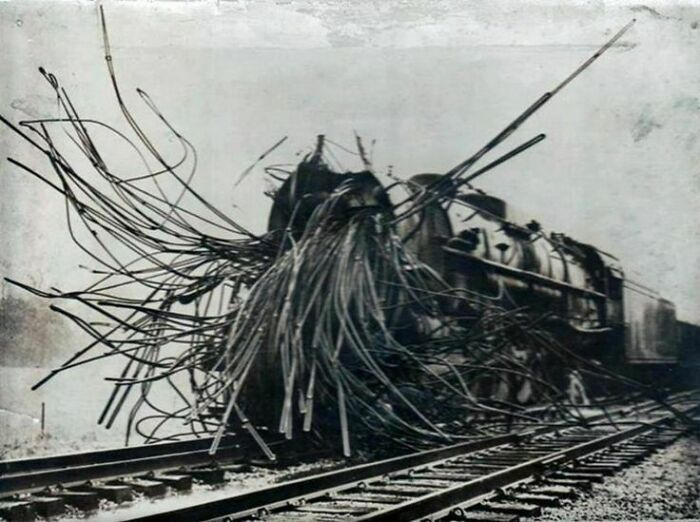 A train torn to shreds by a boiler explosion.