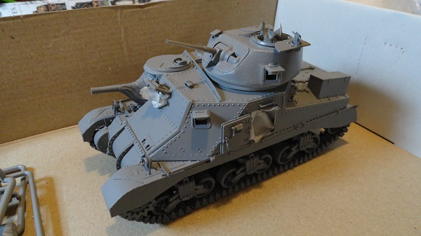 assembled tank in grey primer